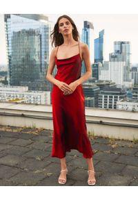 PAPROCKI&BRZOZOWSKI - Czerwona sukienka midi z jedwabiu. Kolor: czerwony. Materiał: jedwab. Długość rękawa: na ramiączkach. Długość: midi
