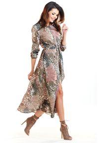 e-margeritka - Długa sukienka w zwierzęce wzory - 38. Materiał: tkanina, poliester, elastan. Wzór: motyw zwierzęcy. Typ sukienki: koszulowe, rozkloszowane. Styl: elegancki. Długość: maxi