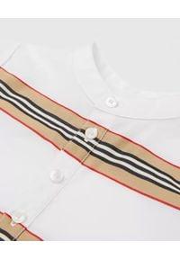 BURBERRY CHILDREN - Bawełniane śpioszki w paski 0-2 lat. Kolor: biały. Materiał: bawełna. Wzór: paski