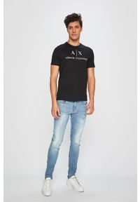 Czarny t-shirt Armani Exchange casualowy, z nadrukiem