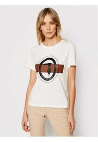 Trussardi Jeans - Trussardi T-Shirt 56T00328 Biały Regular Fit. Kolor: biały