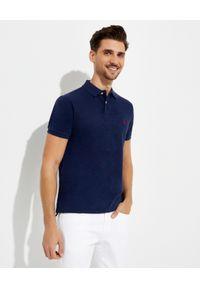 Ralph Lauren - RALPH LAUREN - Granatowa koszulka polo Custom Fit. Typ kołnierza: polo. Kolor: niebieski. Materiał: bawełna. Długość: długie. Wzór: haft