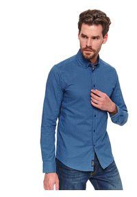TOP SECRET - Koszula długi rękaw męska slim fit. Kolor: niebieski. Materiał: materiał. Długość rękawa: długi rękaw. Długość: długie. Sezon: wiosna. Styl: elegancki