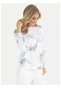 Biała bluza elegancka, plus size, z nadrukiem