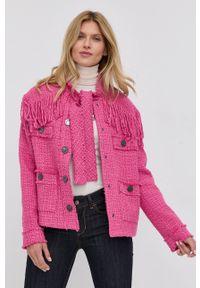 Pinko - Marynarka z domieszką wełny. Okazja: na co dzień. Kolor: różowy. Materiał: wełna. Wzór: aplikacja. Styl: casual