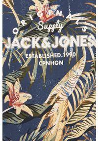 Niebieski t-shirt Jack & Jones na co dzień, casualowy