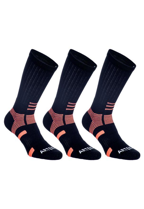 ARTENGO - Skarpety sportowe tenis RS560 3 pary. Kolor: pomarańczowy, czarny, wielokolorowy. Materiał: elastan, poliamid, bawełna, materiał. Wzór: ze splotem. Sport: tenis