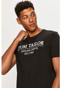 Czarny t-shirt Tom Tailor Denim na co dzień, casualowy, z nadrukiem, z okrągłym kołnierzem