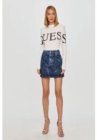 Niebieska spódnica Guess Jeans casualowa, z podwyższonym stanem