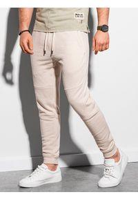 Ombre Clothing - Spodnie męskie dresowe joggery P987 - białe - XXL. Kolor: biały. Materiał: dresówka