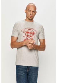 Szary t-shirt Quiksilver z nadrukiem, casualowy, na co dzień