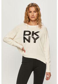 Biały sweter DKNY z aplikacjami, z długim rękawem
