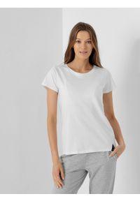 outhorn - T-shirt gładki damski. Okazja: na co dzień. Materiał: bawełna, jersey, materiał. Wzór: gładki. Styl: casual