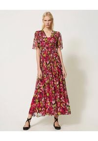 Czerwona sukienka TwinSet w kwiaty, na lato, maxi, na ramiączkach