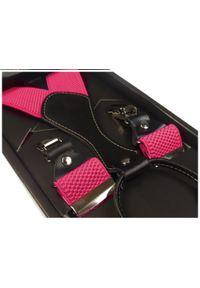 Modini - Szelki do spodni - różowe/amarantowe SZ15. Kolor: różowy. Materiał: skóra, materiał, guma