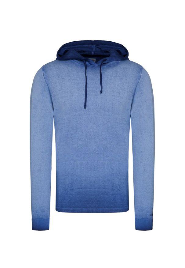 Niebieski sweter CP Company z kapturem, z nadrukiem