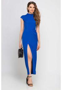 Niebieska sukienka wizytowa Lanti maxi, ze stójką