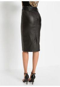 Spódnica ze sztucznej skóry z paskiem bonprix czarny. Kolor: czarny. Materiał: skóra
