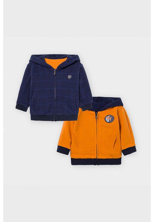 Pomarańczowa bluza rozpinana Mayoral na co dzień, z kapturem, casualowa