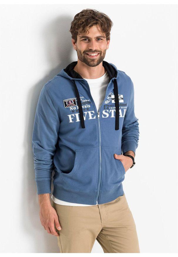 Niebieska bluza bonprix z aplikacjami, z kapturem