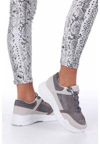 Casu - Szare buty sportowe sneakersy sznurowane casu 6626. Okazja: do pracy, na uczelnię, na co dzień. Kolor: szary. Materiał: skóra ekologiczna, materiał. Szerokość cholewki: normalna. Sezon: lato, wiosna