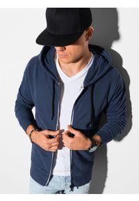 Ombre Clothing - Bluza męska rozpinana z kapturem B1145 - granatowa - XXL. Typ kołnierza: kaptur. Kolor: niebieski. Materiał: bawełna. Styl: klasyczny
