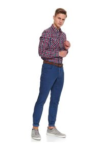 Niebieskie spodnie TOP SECRET w kolorowe wzory, na wiosnę, długie