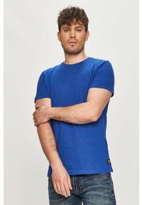 Niebieski t-shirt Tom Tailor na co dzień, casualowy, gładki