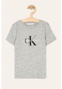 Szary t-shirt Calvin Klein Jeans z nadrukiem, casualowy, na co dzień
