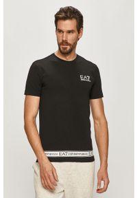 Czarny t-shirt EA7 Emporio Armani z nadrukiem, casualowy, na co dzień