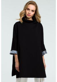 e-margeritka - Elegancka bawełniana bluza z golfem czarna - uni. Typ kołnierza: golf. Kolor: czarny. Materiał: bawełna. Długość: długie. Sezon: jesień, zima. Styl: elegancki