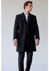Niebieski płaszcz Mango Man klasyczny, bez kaptura