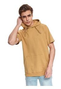 TOP SECRET - Cienka bluza z kapturem i krótkim rękawkiem. Typ kołnierza: kaptur. Kolor: brązowy. Materiał: tkanina, bawełna. Długość rękawa: krótki rękaw. Długość: krótkie. Sezon: lato