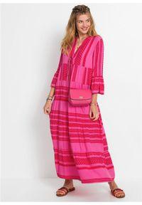Długa sukienka bonprix czerwono-różowy wzorzysty. Kolor: czerwony. Długość: maxi