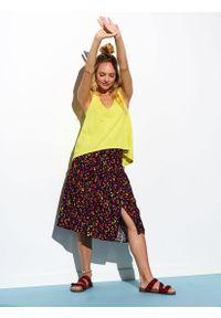 Żółta bluzka TOP SECRET długa, na jesień, na ramiączkach