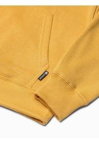 Ombre Clothing - Bluza męska z kapturem B1085 - żółta - XXL. Typ kołnierza: kaptur. Kolor: żółty. Materiał: poliester, bawełna