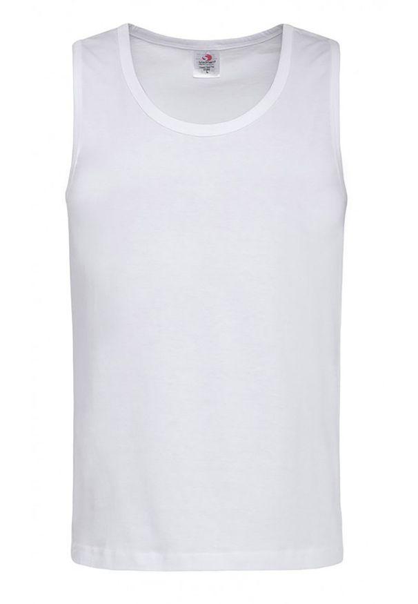 Biały t-shirt Stedman bez rękawów, casualowy, na co dzień