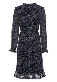 Czarna sukienka bonprix paisley, z dekoltem w serek