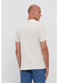 BOSS - Boss - T-shirt bawełniany Boss Casual. Okazja: na co dzień. Kolor: beżowy. Materiał: bawełna. Wzór: gładki, aplikacja. Styl: casual