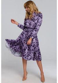 e-margeritka - Sukienka elegancka rozkloszowana w kwiaty - xl. Materiał: poliester, tkanina, materiał. Długość rękawa: długi rękaw. Wzór: kwiaty. Styl: elegancki