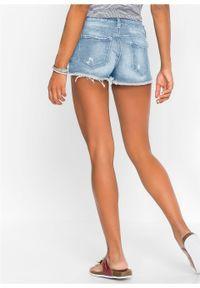 """Szorty dżinsowe z bandaną bonprix jasnoniebieski """"bleached"""". Kolor: niebieski. Materiał: elastan, poliester, materiał, tkanina, bawełna"""