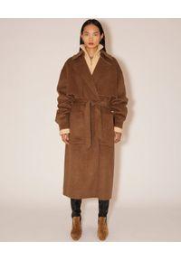 NANUSHKA - Wełniany płaszcz w kratkę Ara. Kolor: brązowy. Materiał: wełna. Wzór: kratka