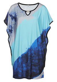 Niebieska tunika bonprix z nadrukiem, elegancka