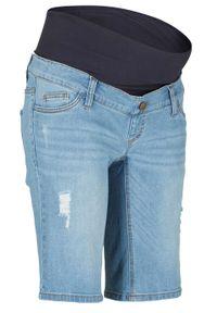 """Bermudy dżinsowe ciążowe bonprix niebieski """"bleached"""". Kolekcja: moda ciążowa. Kolor: niebieski"""