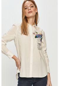 Biała koszula Desigual z aplikacjami, casualowa