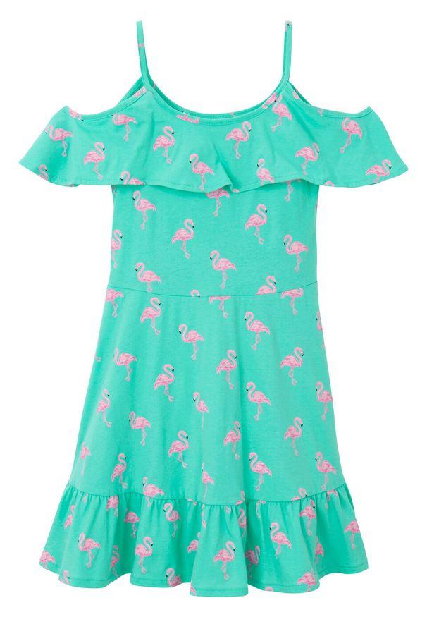 Sukienka dziewczęca z dżerseju bonprix niebieski mentolowy wzorzysty. Kolor: zielony. Materiał: jersey