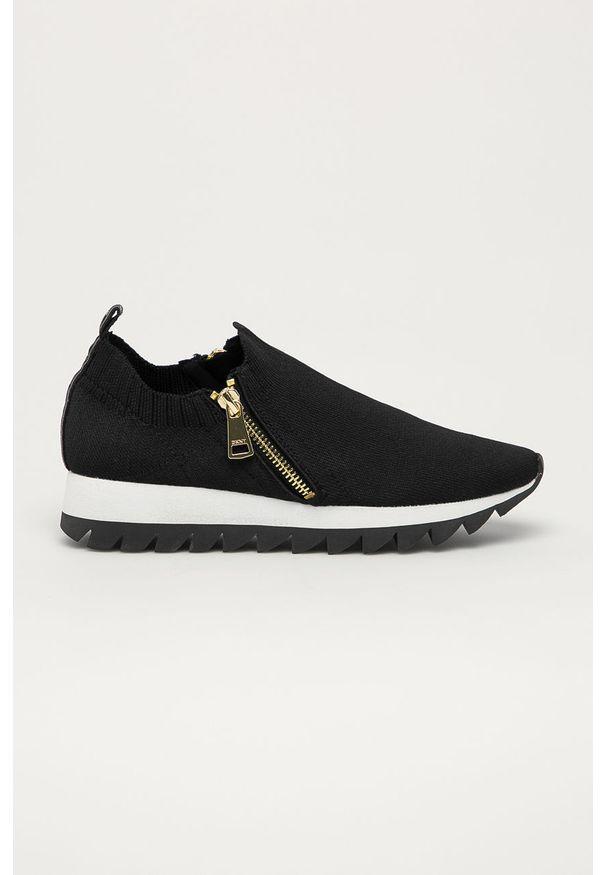 Czarne buty sportowe DKNY na średnim obcasie, z okrągłym noskiem, na obcasie, z cholewką