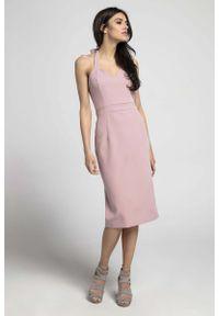 Różowa sukienka wizytowa Nommo midi