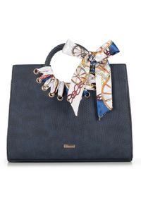 Niebieski kuferek Wittchen skórzany, casualowy