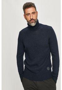 Niebieski sweter Trussardi Jeans z długim rękawem, klasyczny, z golfem, długi